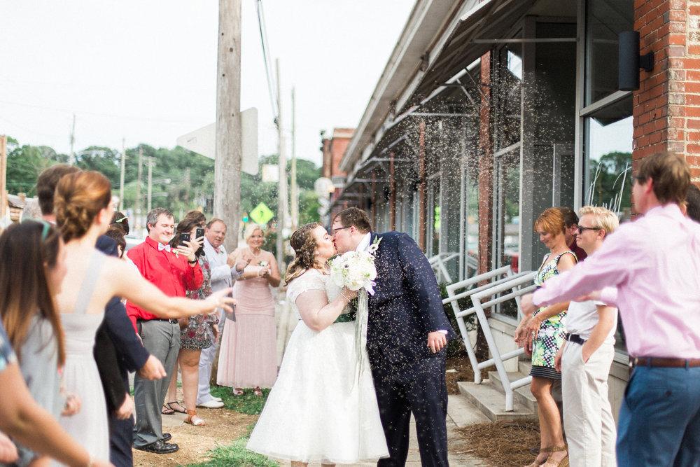 bride and groom confetti send off