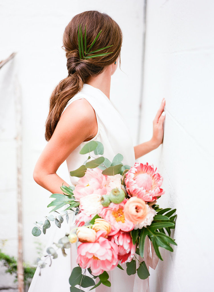 Rachel and Noah Ray bride bouquet giant flower greenery natural