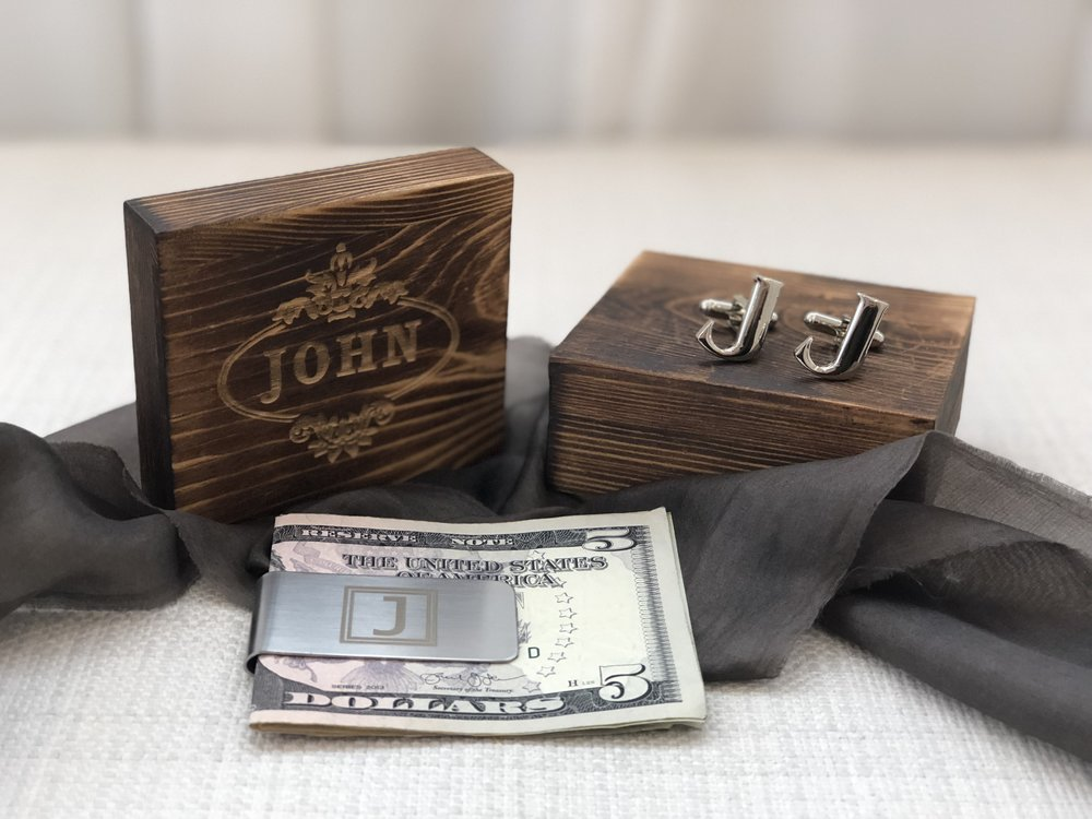 cuff links money clip personalized groomsmen gift