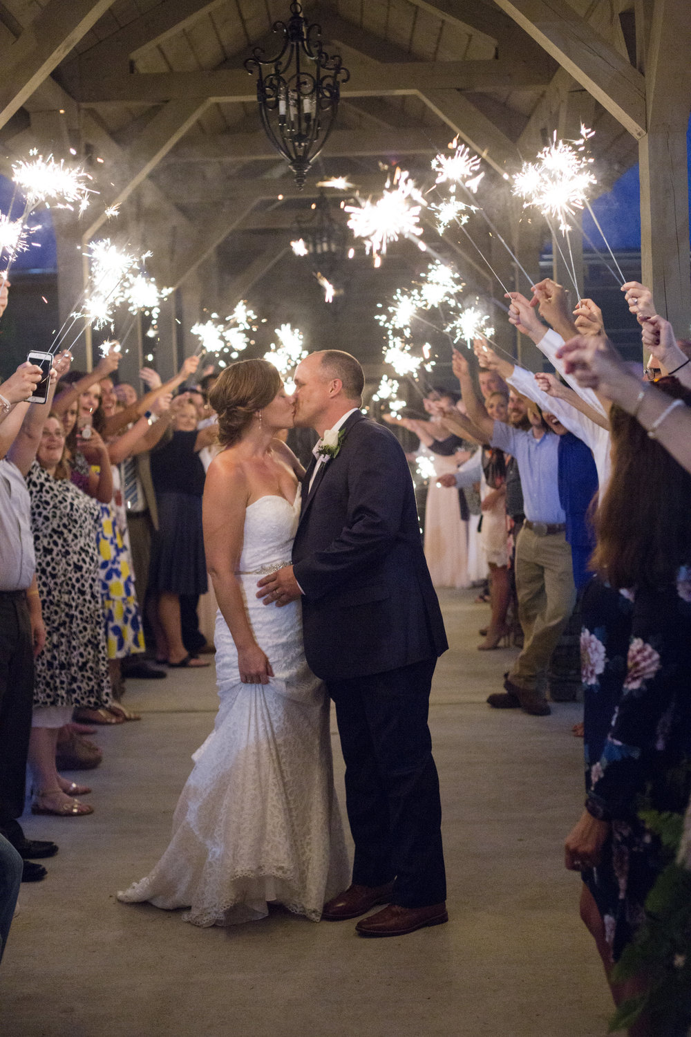 bride and groom sparkler send off