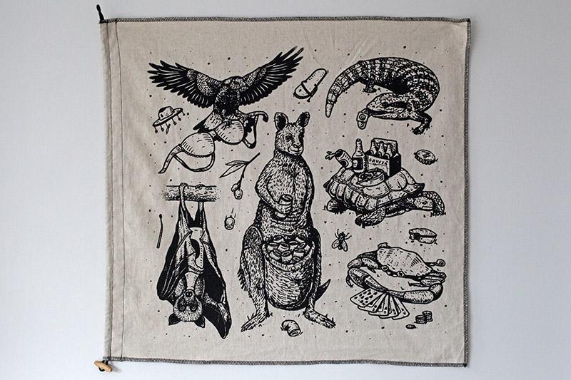 'Wildlife' sandwashed linen flag by Marcus Dixon
