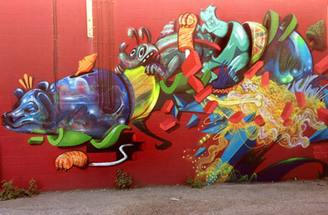 Nosego mural for Free4AllWalls project, Windsor, Canada