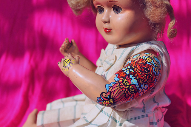'Rosa' custom tattooed antique doll by Kartess.