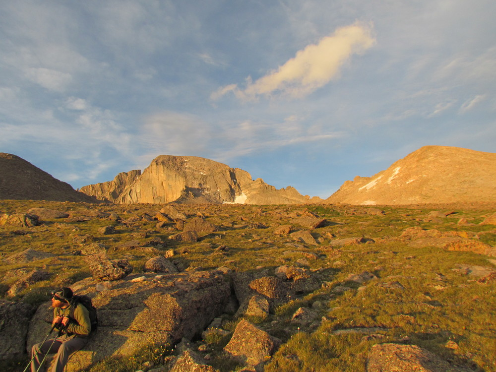 View of Longs Peak during sunrise in July and the approaching Boulderfield and campground with solar pit toilets. Be sure to bring toilet paper!
