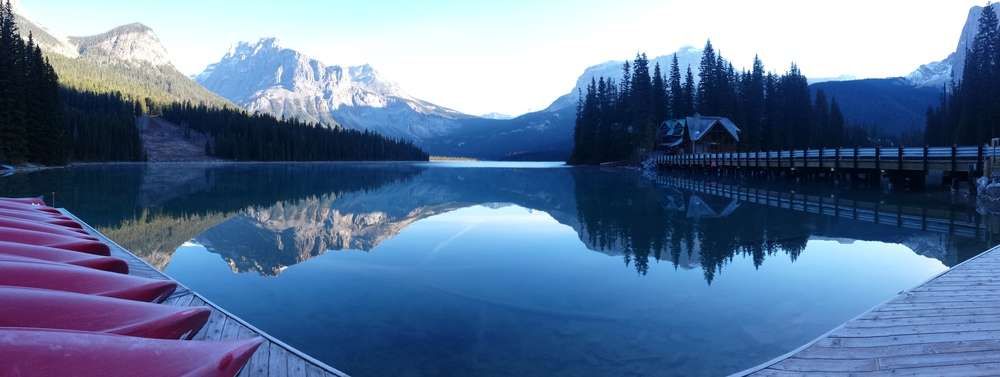 Emerald Lake in Yoho National Park, British Columbia, Canada at 8am in October.