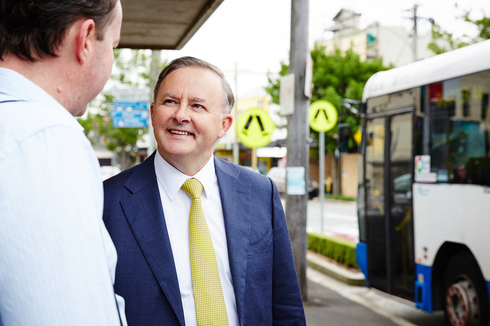 Anthony Albanese  on the campaign trail