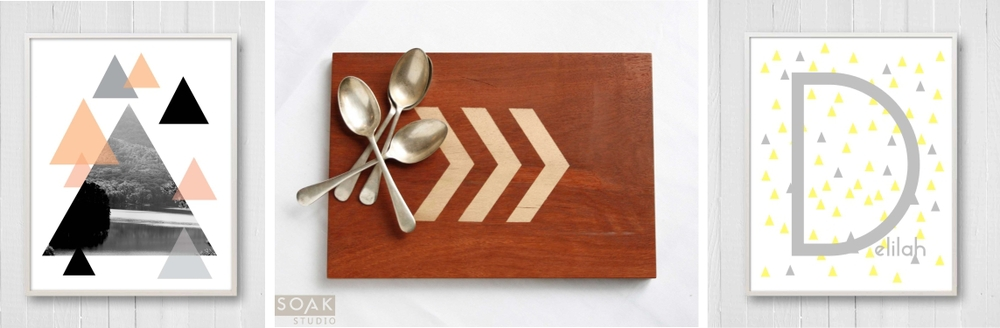 Lake Photo with Triangles Wood Serving Board with Chevron Mini Triangle Name Print