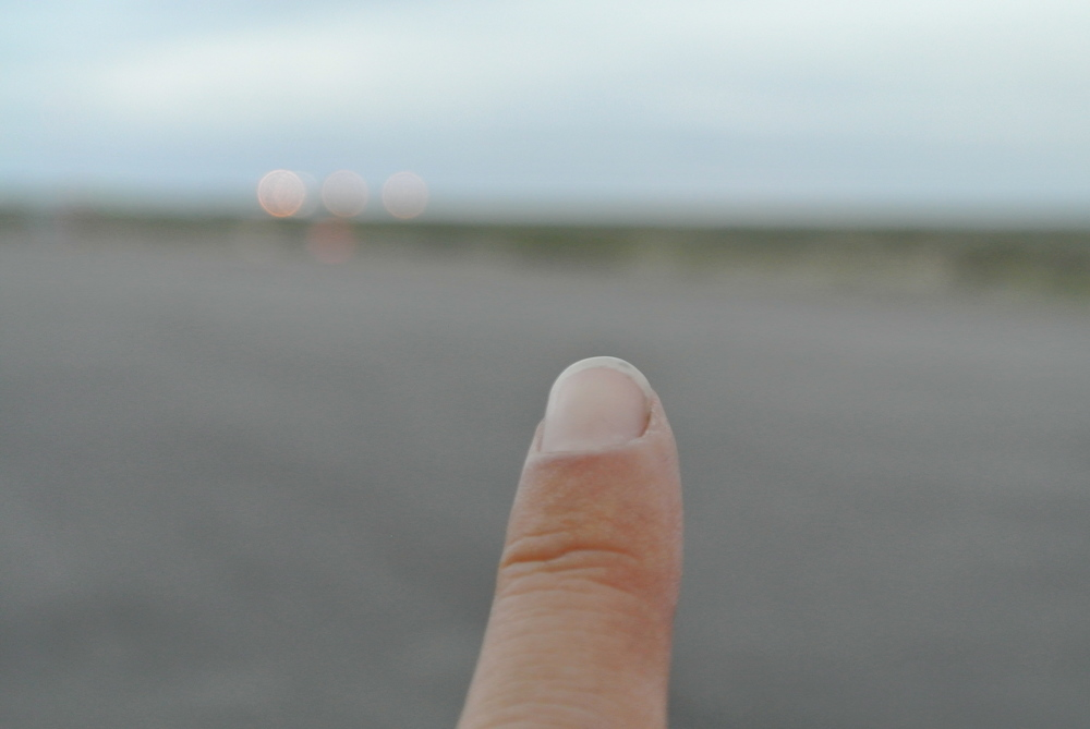 This is a picture I took of my own finger, pointing East in New Mexico.