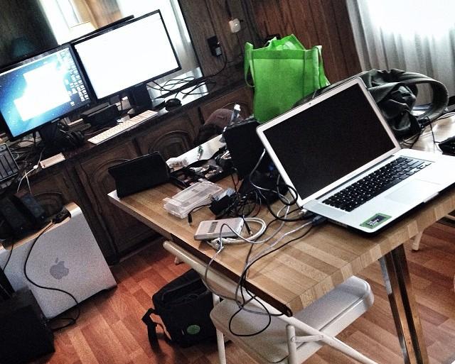 Editing setup on the set of The Drownsman