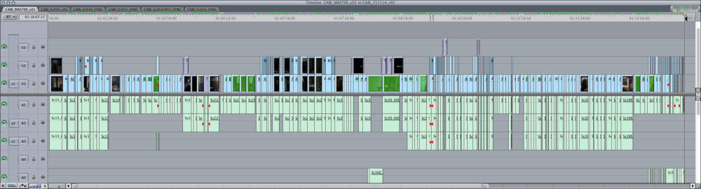 Final Cut Pro 7 timeline for Bite Master edit