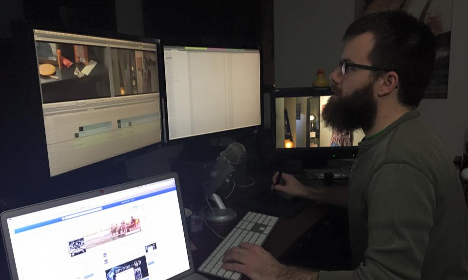 Editing Bite with director Chad Archibald during a late night