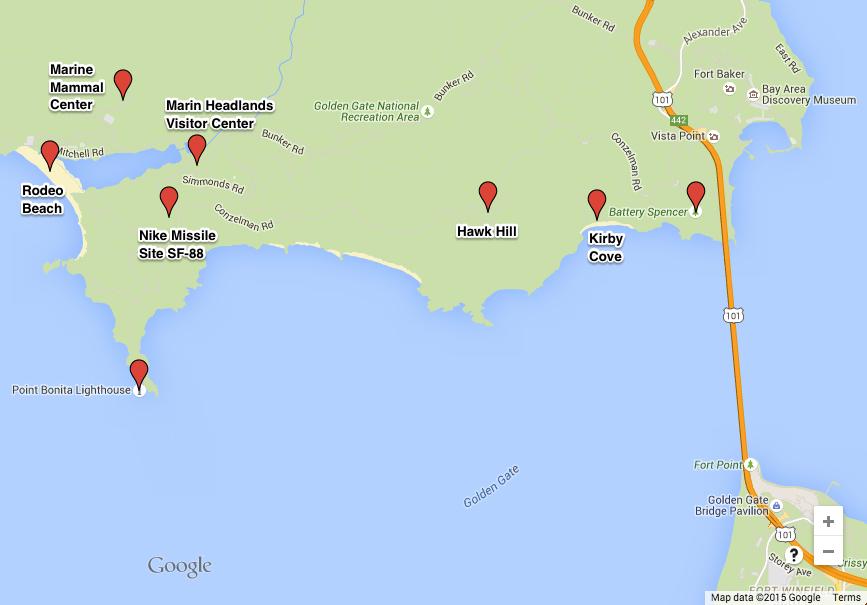 https://www.google.com/maps/d/edit?mid=zlVSII-QnDJE.kFKrJSErcfAQ&usp=sharing http://www.parksconservancy.org/assets/park-improvements/pdfs/marin-headlands-map.pdf