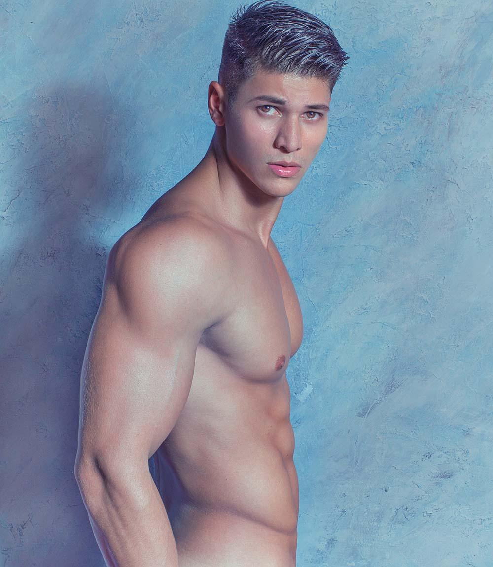 Blue nude man