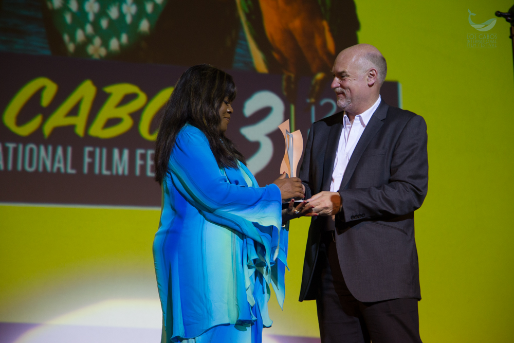 Chaz Ebert accepting an award on behalf of Roger Ebert. Courtesy Photo