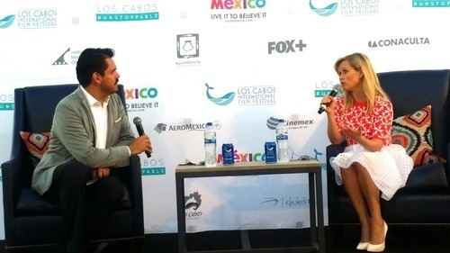 Reese Witherspoon with festival head Alonso Aguilar. Photo Credit: Meagan Sargent