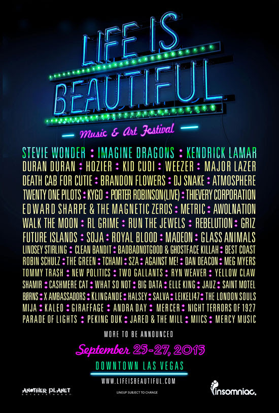 Life is Beautiful Complete Line Up!
