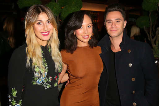 "DWTS pros Emma Slater and Sascha Farber caught up with former DWTS pro (and current ""I Can Do That"" host) Cheryl Burke at the opening of Innovative Dining Group's newest restaurant on the Sunset strip, ROKU Sunset, in West Hollywood over the weekend. Photo Credit: Imeh Akpanudosen / Getty Images"