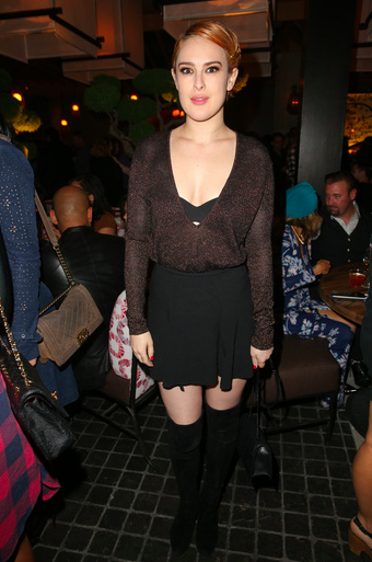 Rumer Willis stunned at the opening of Innovative Dining Group's newest restaurant on the Sunset strip, ROKU Sunset, in West Hollywood over the weekend. Photo Credit: Imeh Akpanudosen / Getty Images