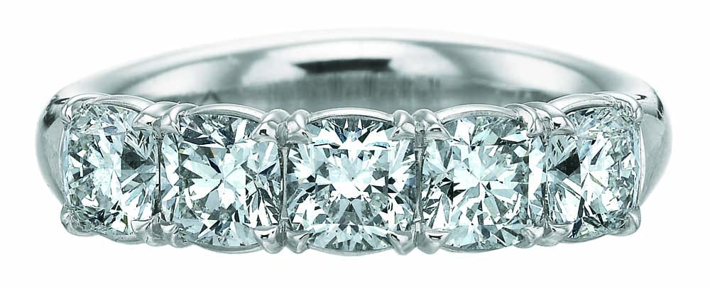 Forevermark by Precision Set Five Stone Cushion Cut Diamond Band set in Platinum.jpg