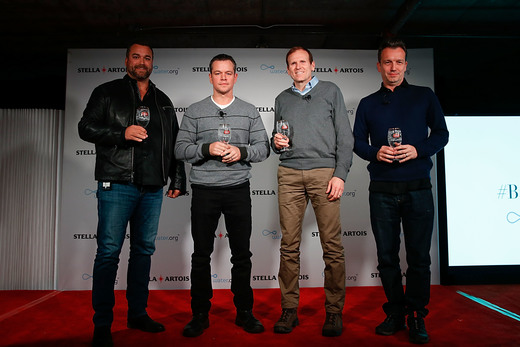 (L - R) Todd Allen, Global Vice President, Stella Artois, Water.org Co-Founders Matt Damon and Gary White, and Sean Bailey, Sundance Institute Board member participated in a panel session hosted by Stella Artois on January 23, 2016 in Park City, Utah, regarding the current global water crisis and what needs to be done to end the long water collection journeys many women in developing countries have to make each day. Photo Credit: Rick Kern/Getty Images for Stella Artois
