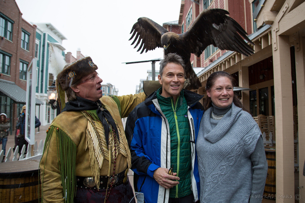 Tim Daly with the enormous eagle with an 8-foot wingspan. Photo Credit: Miles Mortensen