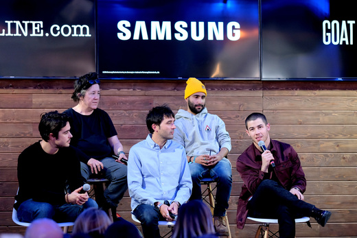 (L-R) Ben Schnetzer, Christine Vachon, Andrew Neel, prodcuer David Hinojosa, and Nick Jonas discuss Goat at the Deadline.com panel in the Samsung Studio during the Sundance Festival 2016 on January 23, 2016 in Park City, Utah. Photo by Neilson Barnard/Getty Images for Samsung