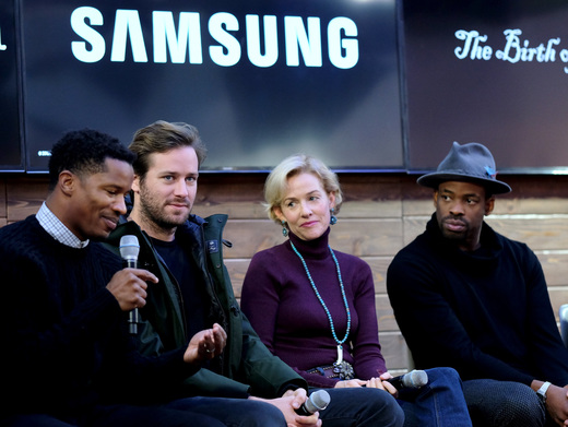 (L-R) Director Nate Parker, actors Armie Hammer, Penelope Ann Miller, and Chike Okonkwo discuss 'The Birth of a Nation' at the Deadline.com panel at The Samsung Studio during The Sundance Festival 2016 on January 26, 2016 in Park City, Utah. Photo by Neilson Barnard/Getty Images for Samsung
