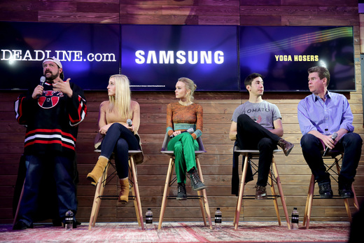(L-R) Director Kevin Smith, actors Harley Quinn Smith, Lily-Rose Melody Depp, Justin Long, and Ralph Garman discuss Yoga Hosers at the Deadline.com panel at The Samsung Studio. Photo by Neilson Barnard/Getty Images for Samsung