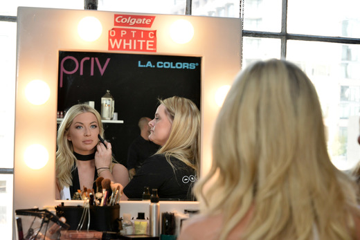 Stassi Schroeder attends the Colgate Optic White Beauty Bar Day 1 at Hudson Loft. Photo Credit: Getty Images for BMF Media