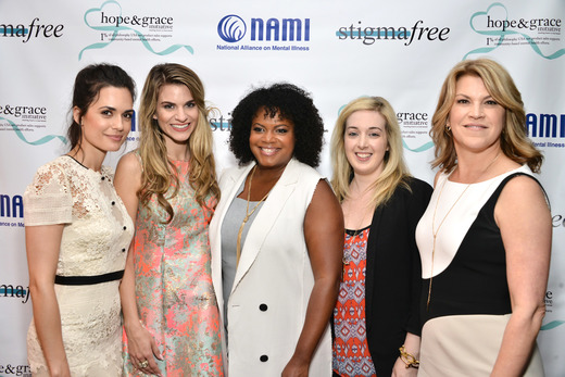 (L-R) Actress Torrey DeVitto, Actress Rachel McCord, Vice President, Global PR, Social Media and Charity at philosophy Tiffani Carter-Thompson, Blogger Jamie Stone and National Director of Communications at NAMI Katrina Gay attend the Hope and Grace Luncheon with NAMI And Philosophy For Mental Health awareness month at Sofitel Hotel on May 19, 2016 in Los Angeles, California. Photo Credit: Araya Diaz/Getty Images for Philosophy.