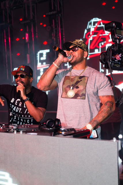 Flo-Rida surprised party-goers with an impromptu performance singing 'My House' with DJ Irie at The 2016 MAXIM Party during Indy 500 weekend, produced by Karma International, in celebration of The 100th Running of the Indy 500, with Budweiser Beer and energizing mixers by Red Bull, Life Support recovery shots, including Steak & Shake burgers and fries, and specialty sips by Hangar 1 Vodka & Maestro Tequila, in Indianapolis, IN, on Friday, May 27th, 2016.  / Photo Credit: Karma International