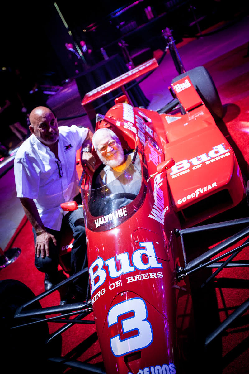 David Letterman steals a ride in the Budweiser racer at The 2016 MAXIM Party during Indy 500 weekend, produced by Karma International, with energizing mixers by Red Bull, Life Support recovery shots, including Steak & Shake burgers and fries, and specialty sips by Hangar 1 Vodka & Maestro Tequila, in celebration of The 100th Running of the Indy 500, in Indianapolis, IN, on Friday, May 27th, 2016.  / Photo Credit: Getty Images