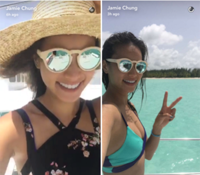 Jamie Chung Rockin Perverse Shades!  Photo Courtesy of Jamie Chung Snapchat