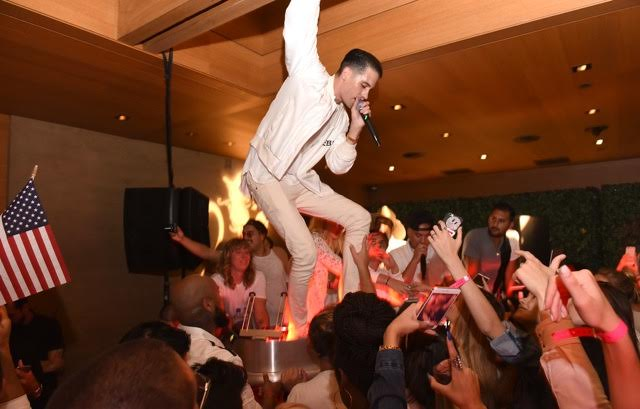 "G-Eazy played his surprise performance at the Booty Bellows ""Red, White and Bootsy"" bash hosted by John Terzian and The h.wood Group in honor of the 4th of July yesterday at Nobu Malibu in Malibu, CA. Photo Credit: Vivien Best/Getty Images"