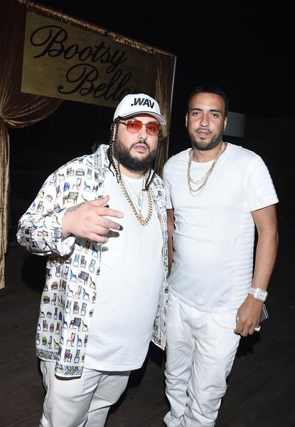 "French Montana & Belly pose together at the Booty Bellows ""Red, White and Bootsy"" bash hosted by John Terzian and The h.wood Group in honor of the 4th of July yesterday at Nobu Malibu in Malibu, CA. Photo Credit: Vivien Best/Getty Images"