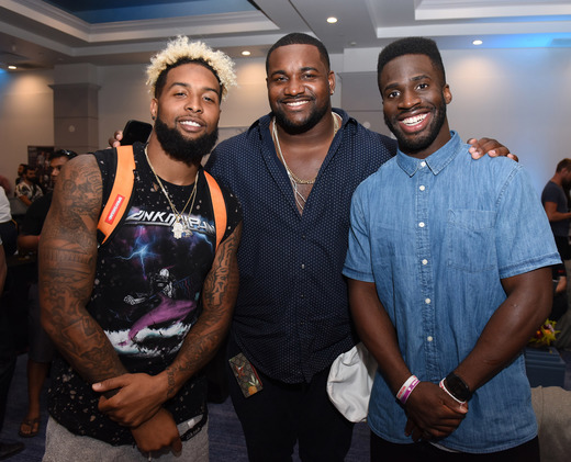 Odell Beckham Jr., Marcell Dareus and Prince Amukamara attend Cooper & GBK's 2016 Pre-ESPY Celebrity Lounge & Poker Tournament at The Line Hotel on July 12, 2016 in Los Angeles, California. (Photo by Vivien Killilea/Getty Images for GBK Productions )