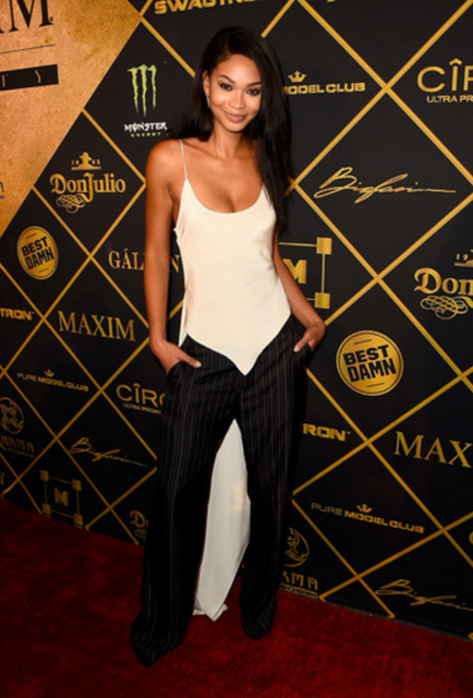 Supermodel and Hot 100 nominee Chanel Iman was in bright spirits as she attended the 16thAnnual  MAXIM Hot 100 Party. Photo credit: Getty Images for Karma International