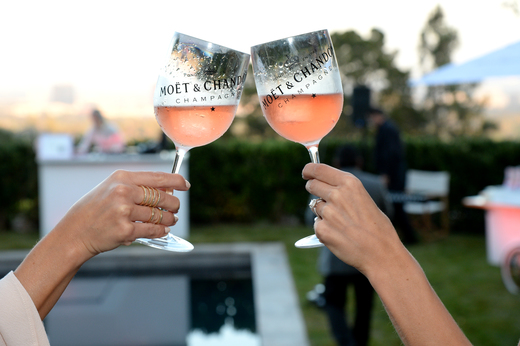Cheers!  (Photo by Michael Kovac/Getty Images for Moet)