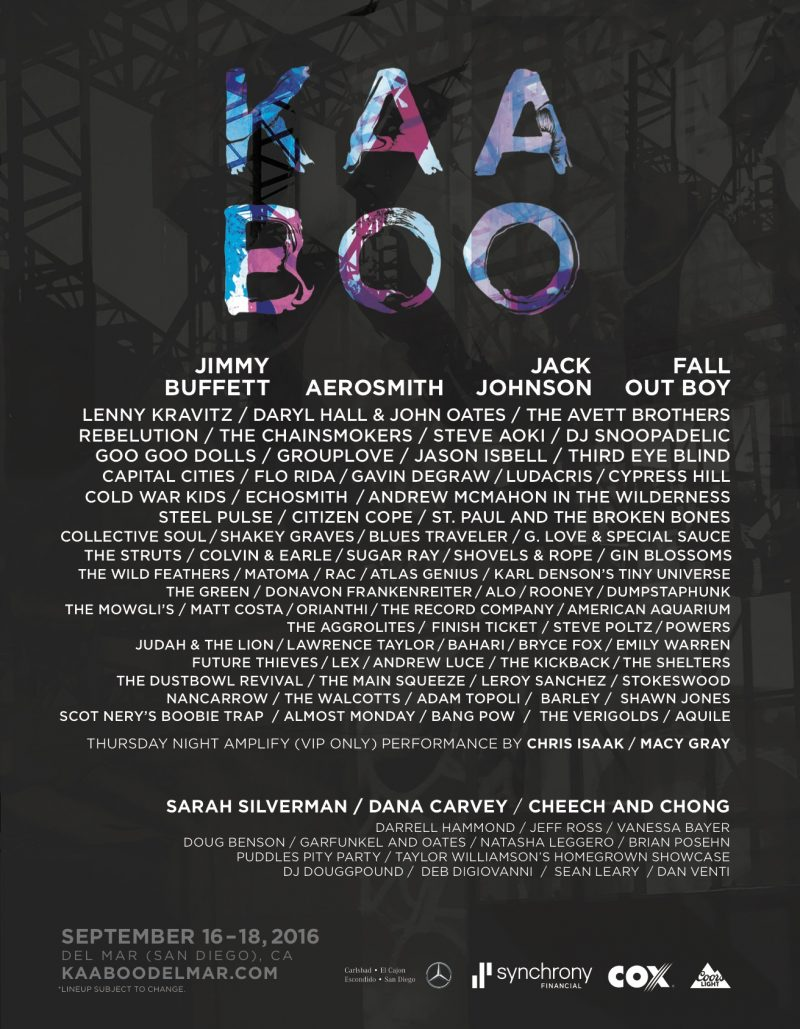 2016 KAABOO Del Mar Lineup. Courtesy Photo