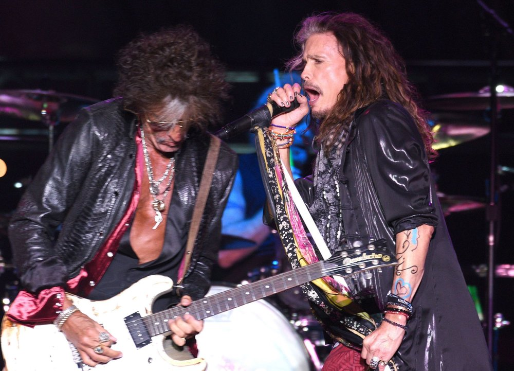 Joe Perry and Steven Tyler of Aerosmith perform on the Sunset Cliffs stage during the 2016 KAABOO Del Mar at the Del Mar Racetrack on September 17, 2016 in Del Mar, California. (Photo by C Flanigan/WireImage for Kaaboo Del Mar via imageSPACE)