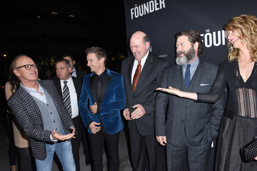 The cast of  The Founder   (presented by DeLeón Tequila)  couldn't have been more thrilled to acknowledge Michael Keaton as he arrived at The ArcLight for the US premiere of the film in Hollywood, CA.  Photo Credit: Vivien Best / Getty Images