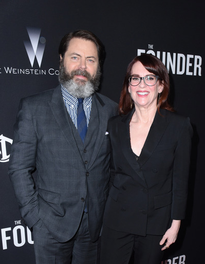 Nick Offerman and wife Megan Mullally show each other love at the US premiere of  The Founder   presented by DeLeón Tequila  at The ArcLight in Hollywood, CA. Photo Credit: Vivien Best/Getty Images