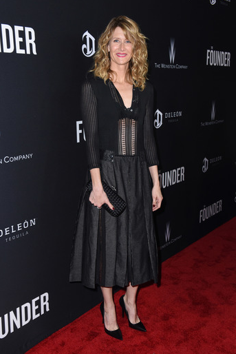 Laura Dern glistened in a black ensemble at the US premiere of  The Founder   presented by DeLeón Tequila  at The ArcLight in Hollywood, CA. Photo Credit: Vivien Best/Getty Images