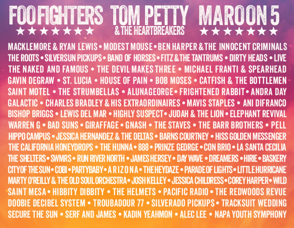The Complete BottleRock Line Up! Courtesy Photo