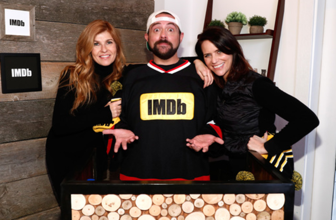 Connie Britton and Amy Landecker with Kevin Smith at The IMDb Studio At The 2017 Sundance Film Festival Featuring The Filmmaker Discovery Lounge, Presented By Amazon Video Direct. Photo Credit: Getty Images for IMDb