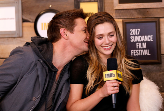 Jeremy Renner and Elizabeth Olson at the IMDb Studio at Sundance Film Festival. Photo Credit: Getty Images for IMDb