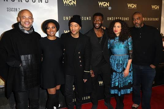 "Pictured above (L-R): ""Underground"" Executive Producer and Director Anthony Hemingway, Co-Creator and Executive Producer Misha Green, Executive Producer John Legend, Actors Aldis Hodge Jurnee Smollett-Bell, and Executive Producer Mike Jackson host an Exclusive Celebration at Park City's prestigious Riverhorse on Main."