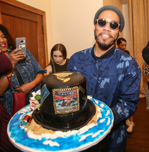 Anderson Paak was all smiles as he was presented with a cake for his birthday while celebrating with CÎROC last night in LA. Photo Credit: Thaddeus McAdams.
