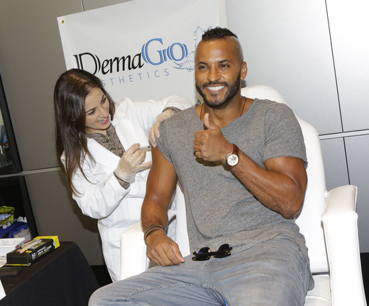 Actor Ricky Whittle (R) attends the GBK Pre-Grammy Lounge at the McLaren Auto Gallery on February 11, 2017 in Beverly Hills, California. (Photo by Tiffany Rose/Getty Images for GBK)
