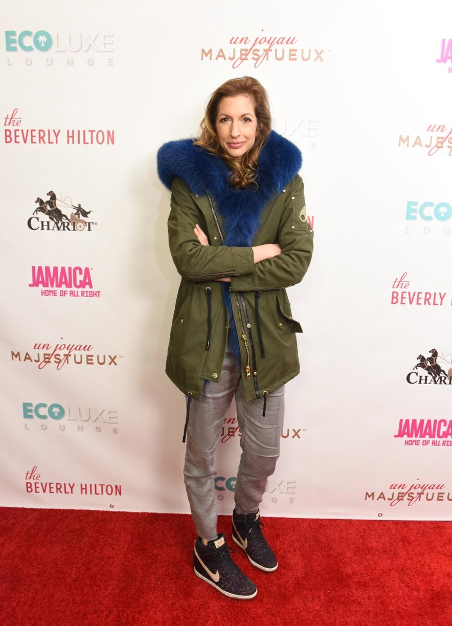 Alysia Reiner was a bundle of joy at  Debbie Durkin's EcoLuxe Lounge  sponsored by  Chariot Travelware  and  Un Joyau Majestueux    at The Beverly Hills Hotel in Beverly Hills, CA. Photo Credit: Vivien Best/Getty Images